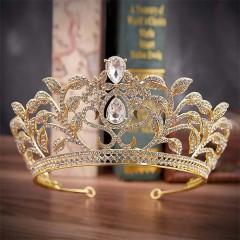Wedding Hair Jewelry Accessories for Women Crystal Flower Leaf Rhinestone Large Tiara Crown Bride Coronal Diadem