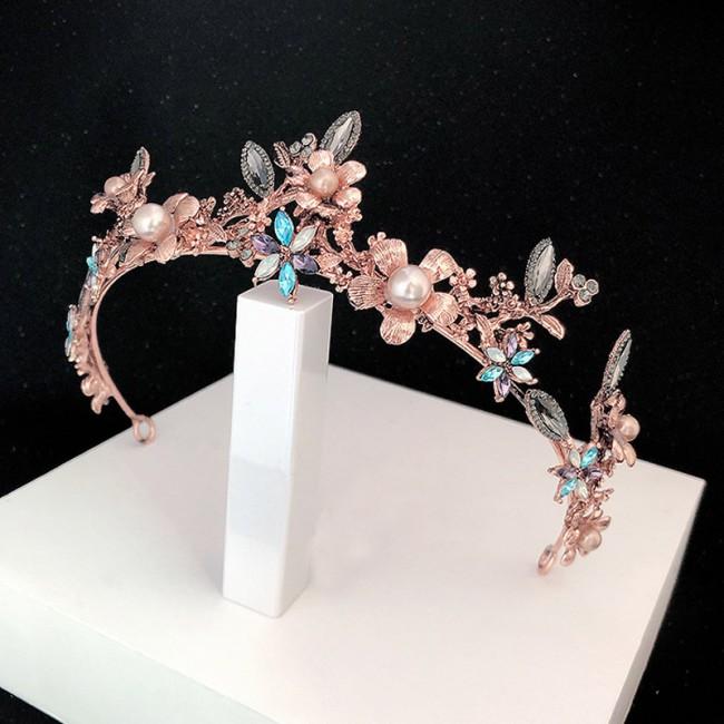 Retro Baroque Style Flower Crystal Pearls Headbands Tiara Crown Bridal Wedding Hair Jewelry