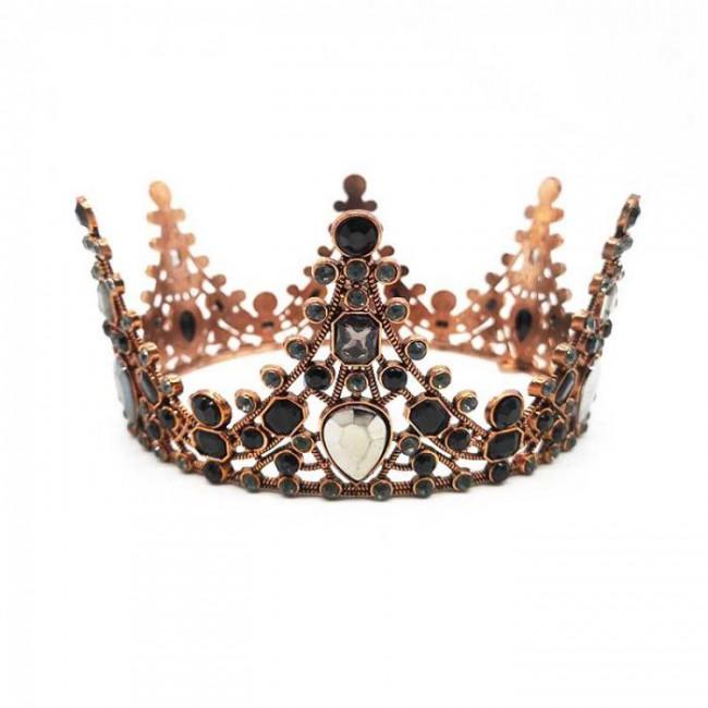 Retro Baroque Black Crystal Round Royal Queen Pageant Tiaras Crowns Diadem Bride Bridal Wedding Dress Headpieces
