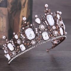 Vintage Baroque Rhinestone Bride Crown Tiara Crystal Large Queen Diadem Headdress Wedding Hair Accessories