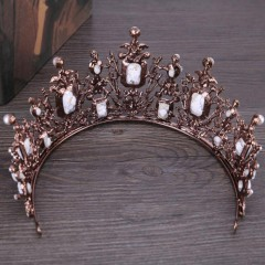 Vintage Baroque Rhinestone Bride Crown Tiara Crystal Large Queen Diadem Headdress Wedding Hair Accessories