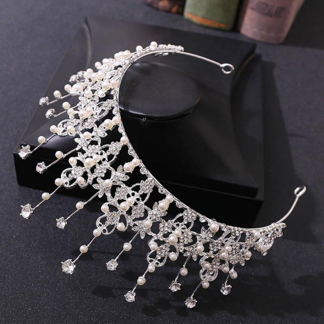 Crystal Pearls Wedding Tiaras and Crowns for Bride Noiva Luxury Headbands for Women Girls Hair Ornaments