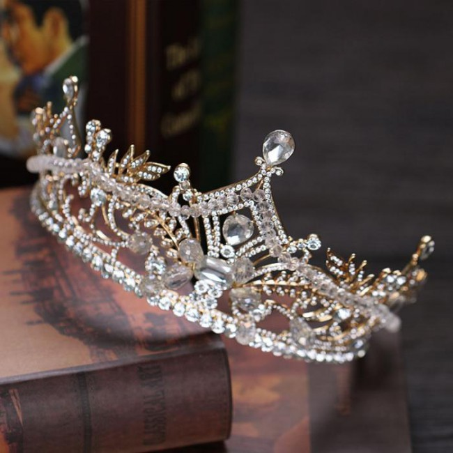 Luxury Big Crystal Bridal Crown Golden Color Charm Rhinestone Tiaras Bride Noiva headpiece Wedding Hair Jewelry Accessories
