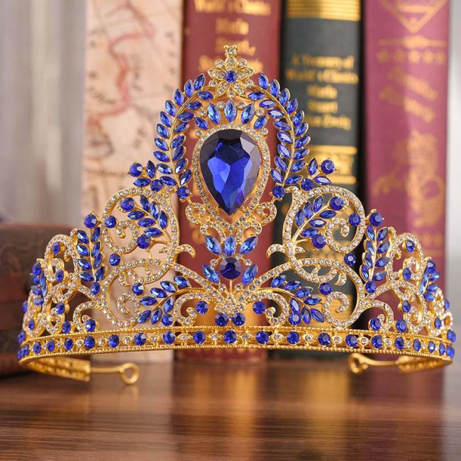 Retro Baroque Style Royal Princess Tiara Crown Noiva Bride Bridal Wedding Hair Accessories Jewellry