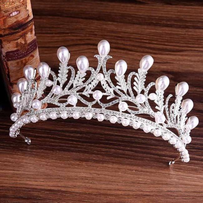 Luxury Gold Crystal Pearl Noiva Diadem Headpiece Rhinestone Leaf Bride Tiaras Crown Hair Jewelry Wedding Hair Accessories