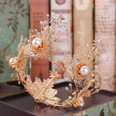 Vintage Wedding Bride Hair Jewelry Ornaments Full Circle Crystal Bridal Tiaras Crowns Gold Leaf Floral Pearl Noiva Diadem