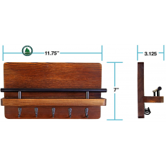 Holder and Mail Shelf - Decorative Wooden Wall Organizer for Keys, Letters, Bills - Pine Wood Unique Rustic and Industrial Decor - Perfect for Entryway, Kitchen, Mudroom