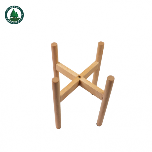 Cross Shaped Mid Century Style Wooden Plant Pot Stand Flower Stand for Home Decoration Indoor Use