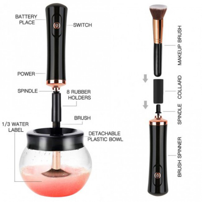 Makeup Brush Cleaner, Clean And Dry All Size Makeup Brushes In Seconds