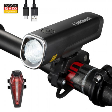 40 Lux USB Bike Light Set StVZO Approved