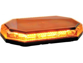 10 Function Amber LED Clear Lens Mini Light Bar Warning with Permanent Mount 10 to 30v