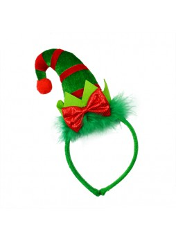 New Goods Christmas Elf Hat Head Boppers With Green Feather And Red Bowtie