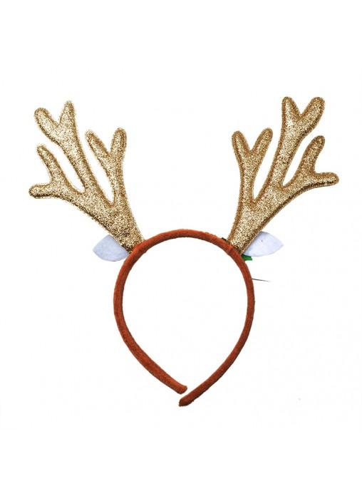 Christmas Reindeer Golden Deer Antlers Headband