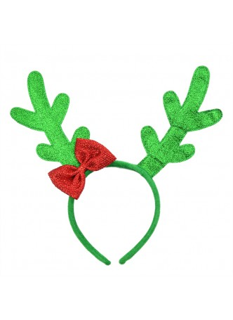 Christmas Glitter Green Reindeer Headband With Red Bow