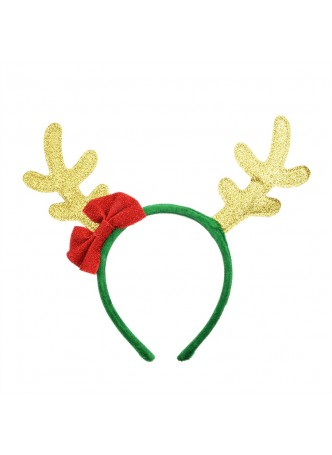 Christmas Gold Glitter Reindeer Antlers Headband With Red Bow