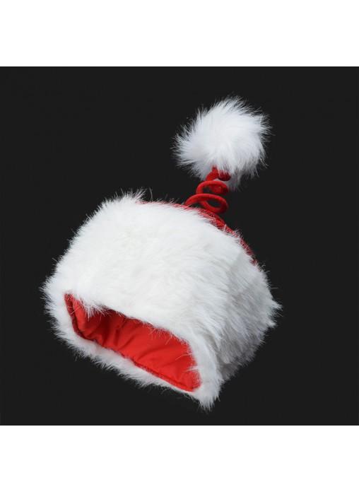 Christmas Plush Spiral Hat With White Pom Pom