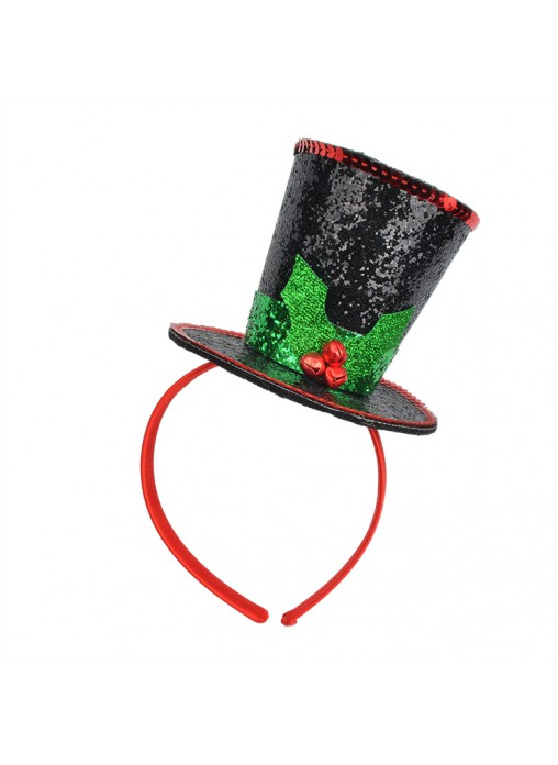 Christmas Top Mini Black Hat Headband