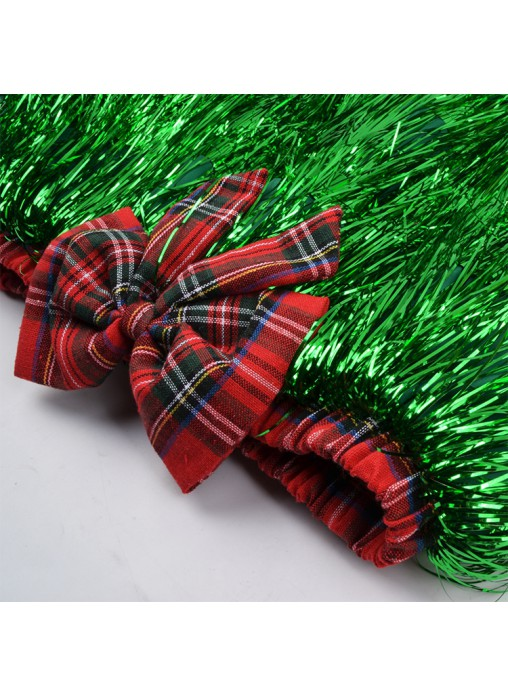 Christmas Party Decoration Green Tassel Tutu Skirt With Red Bow