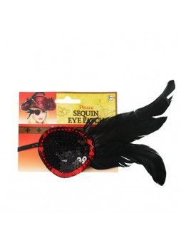 Halloween Costume Accessory Pirate Women Feathered Eye Patch
