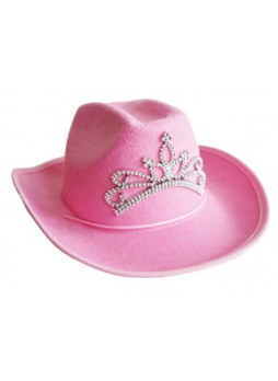 Princess Felt Pink Cowgirl Hat with Tiara