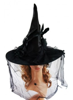 Deluxe Feathered Halloween Witch Hat