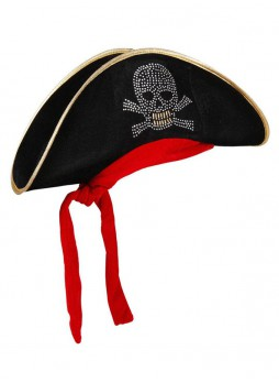 Halloween Costume Accessory Black Pirate Skull Hat