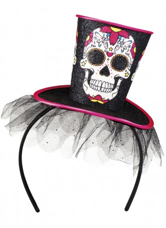 Adult Day of the Dead Mini Top Hat with Skull Halloween Fancy Dress Accessory
