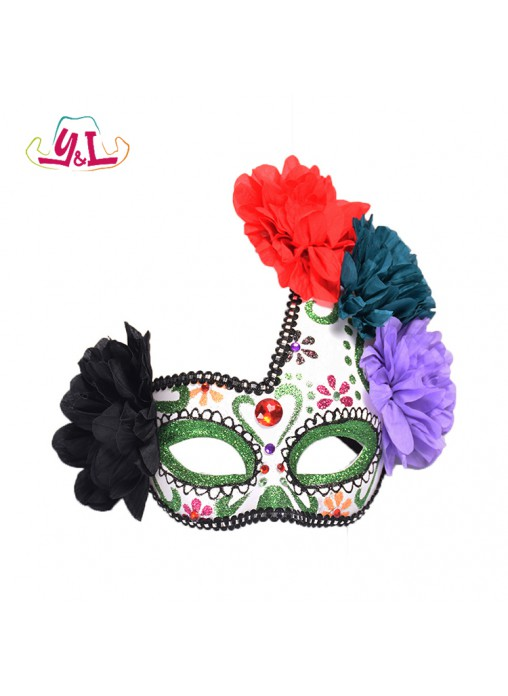Day Of The Dead Adult Halloween Glitter Eyemask Fancy Dress Accessory