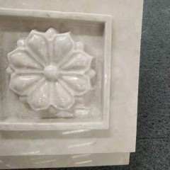 White marble flower carved wall decoration panel