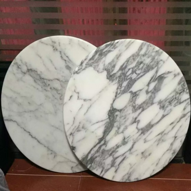 Round Arabescato white  marble table tops