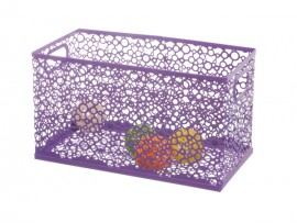 Metal wire household purple storage box
