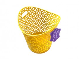 Yellow decortative metal waste bin