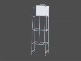 2 tiers white metal newspaper rack