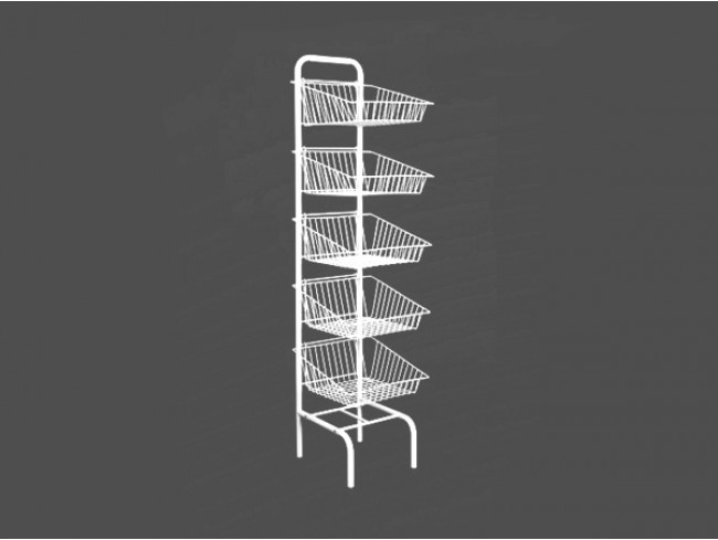 Supermarket High Quality Metal fruit vegetable display rack wih 3 baskets