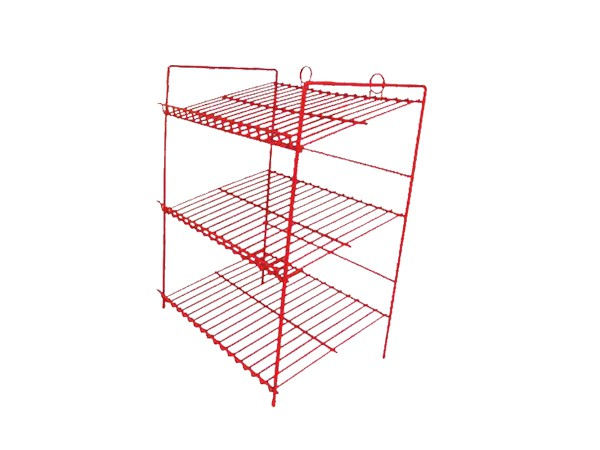 Floor Standing Powder Coated Red Metal Fruit Rack Display Shelf