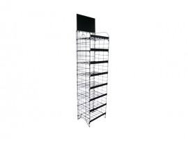 Supermarket Flooring Stand 8 Tiers Foldable Display Shelf