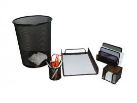 Five Sets Mesh Stationery Set Including Waste Bin Pen Holder Document tray and Envelop Holder