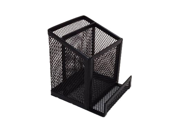 Mesh design metal stationery holder for pen and stickers
