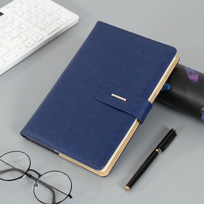 2019 Luxury Business Custom Logo Printed Brown PU Leather Notebook
