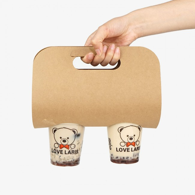 2019 Double Hole Take Away Coffee Drink Paper Cup Holder Carrier BagDouble Hole Take Away Coffee Drink Paper Cup Holder Carrier Bag