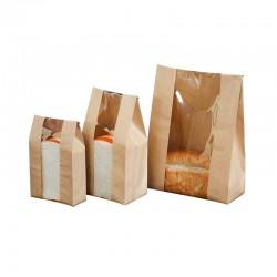 2019 color print bread packaging kraft paper bag with window