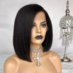 Short Bob 130% Density Pixie Cut Wig 13x6 Lace Front Side Part Kinky Straight Human Hair Wig