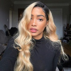 1b 613 Color Body wave 150% Density 13x6 Lace Front Human Hair Wig