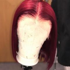 99J Color Short Bob Straight 150% Density 13x6 Lace Front Human Hair Wig