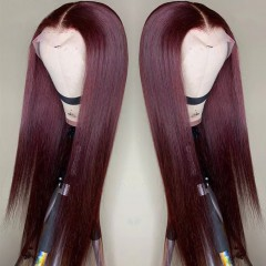 99J Color Straight 150% Density 13x6 Lace Front Human Hair Wig