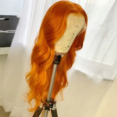 Orange Color Body Wave 150% Density 13x6 Lace Front Human Hair Wig