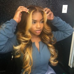 Honey Blonde Color Body wave 150% Density 13x6 Lace Front Human Hair Wig