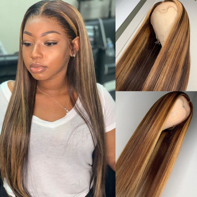 1b 30 Color Straight 150% Density 13x6 Lace Front Human Hair Wig