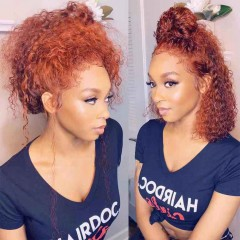 Orange Color Deep Curly 130% Density 13x4 Lace Front Human Hair Wig