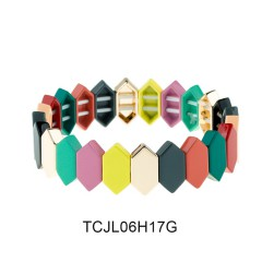 Rainbow Colorful Stackable Alloy Tile Enamel Wholesale Bracelet Women Jewelry